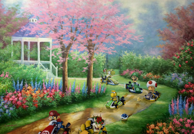 The Mario Kart characters make their mark on an otherwise unremarkable garden setting (image via Paste Magazine (c) David Pollot)