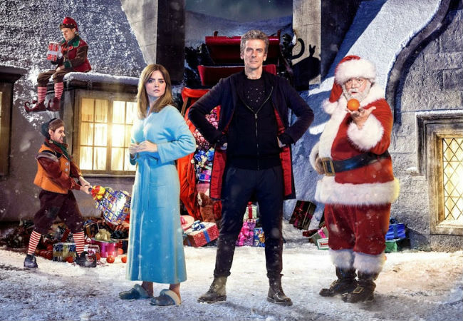 Clara Oswald, Doctor Who and Santa Claus come up against a monster far more terrifying than a kid off the Naughty List (image via Cultbox (c) BBC)