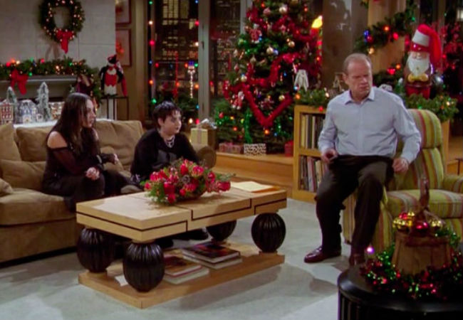 Frasir finds himself not os much ho-ho-ho'ing during this most unexpected of Christmases, so much as oh no-oh no-oh no'ing (image via Sound On Sight (c) Frasier)