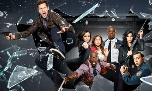 The cast of Brooklyn Nine-Nine / L-R clockwise Andy Samberg, Terry Crews, Melissa Fumero, Chelsea Peretti, Andre Braugher, Stephanie Beatriz, Joe Lo Truglio (image via and (c) Fox)