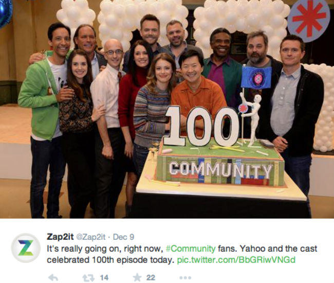 One of the highlights of the year was Community getting picked up for a 6th season on Yahoo! after NBC, as expected, cancelled it and celebrating the filming of its 100th episode ... now for the movie part of the #sixseasonsandamovie hashtag (image via Zap2it Twitter account)