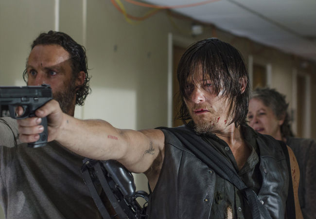 Things don't quite go according to plan when Rick, Daryl and the others meet up with the Grady Memorial crew ... but then when do plans hatched in the midst of an apocalypse ever work out as intended? (image (c) Gene Page/AMC)