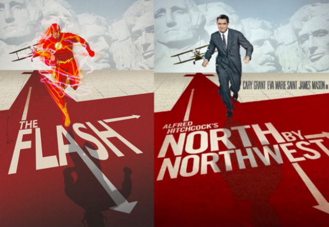 The Flash and Cary Grant (FLASH #40 inspired by NORTH BY NORTHWEST, with cover art by Bill Sienkiewicz / Image via io9)