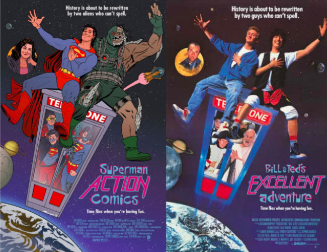 Bill and Ted meet Superman (ACTION COMICS #40 inspired by BILL & TED'S EXCELLENT ADVENTURE, with cover art by Joe Quinones / image via io9)