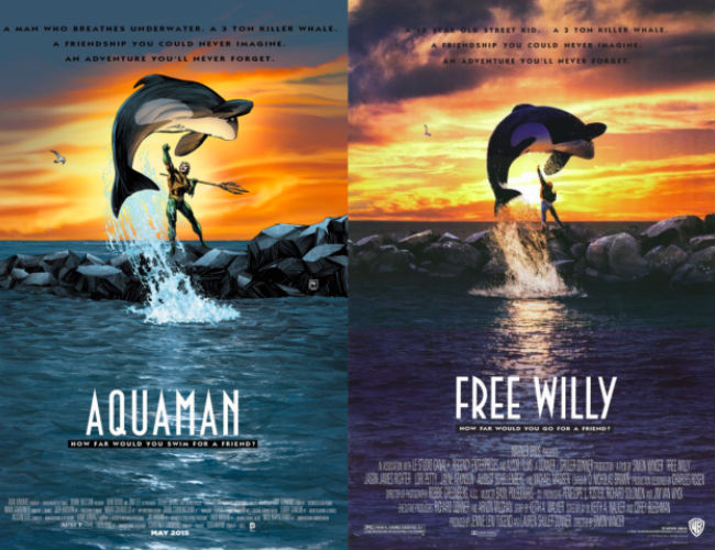 Aquaman and Free Willy (AQUAMAN #40 inspired by FREE WILLY, with cover art by Richard Horie / image via io9)