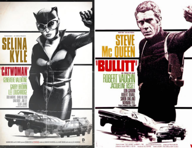 Catwoman and Steve McQueen (CATWOMAN #40 inspired by BULLITT, with cover art by Dave Johnson / image via io9)