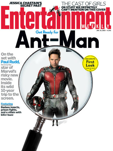 Here's Rudd as Ant-Man on the cover of the latest issue of Entertainment Weekly (image via EW)