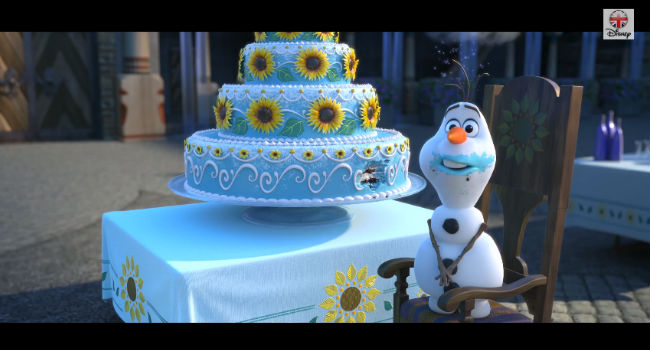 Olaf is back! Along with Anna and Elsa and Kristoff and Sven ... and well, everyone! (image via YouTube (c) Disney)