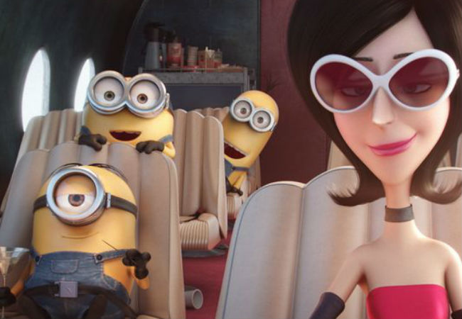 Sandra Bullock gives voice and life to Scarlett Overkill, the Minions' pre-Gru villainous master (image via First Showing)
