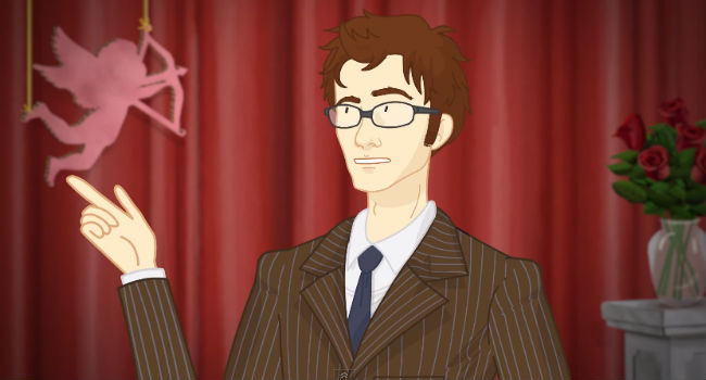 The  Tenth Doctor (David Tennant) draws up a rather long list of historical figures he has, ah, known well, very well (image via YouTube (c)  Leigh Lahav)