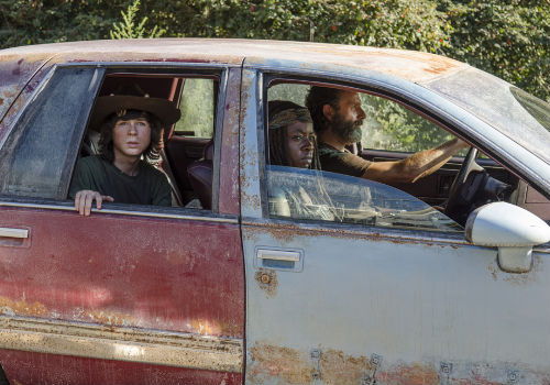 ROAD TRIP! Normally something that cause people to smile, you would have thought, and again it makes sense they wouldn't want to get their hopes up, that Rick and the gang were off to a convention of cannibalistic Amway salespeople (Photo by Gene Page/AMC)