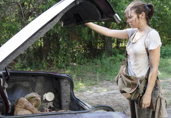 Maggie, already struggling to keep going, finds nothing but a trussed-up walker in the boot of a car instead of the food and water she was clearly hoping for (Photo by Gene Page/AMC)