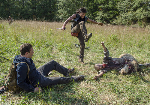 With Aaron sitting down on the job again - kidding; a walker tripped him up in a rather flesh-hungry fashion - it's up to Daryl to save the day ... but not the horse alas (Photo by Gene Page/AMC)