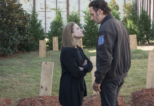 Little did Rick realise that Deanna had won her hometown's Death Stare competition five years in a row, a record that is yet to be bettered ... for obvious reasons (Photo by Gene Page/AMC)