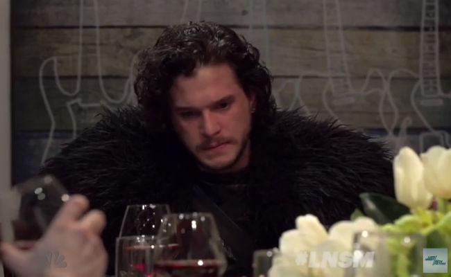 All that time on the Wall has left Jon Snow's social skills a little rusty, making him, initially at least, not the world's greatest dinner guest (image via YouTube (c) Late Night with Seth Meyers)