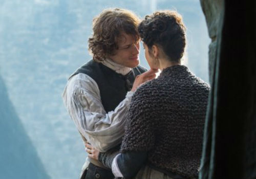 Love sweet love and a reminder that both Jamie and Claire have equally pressing need of each other and much they learn from the other (image via SpoilerTV (c) Starz)