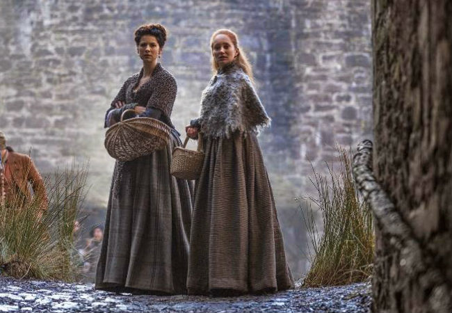 Claire and her BFF Geillis find themselves going from the bonhomie of friendship and secrets shared to accusations of a decidedly satanic nature (image via SpoilerTv (c) Starz)