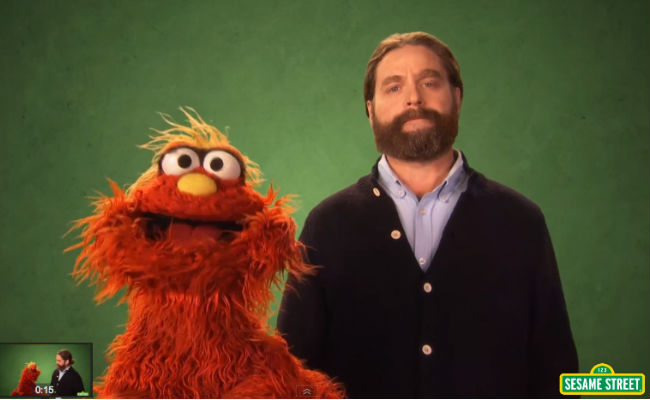 """Zach Galifianakis and Murray, and of course a piranha show us the meaning of the word """"nimble"""" (image via YouTube (c) Children's Television Workshop)"""