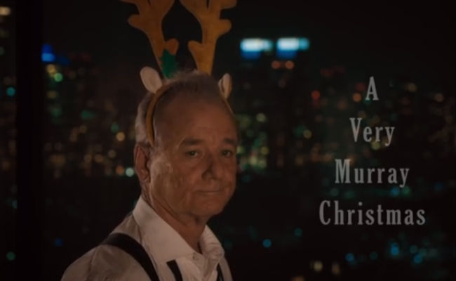 Bill Murray in as Ho! Ho! Ho! a mood as you'd expect him to be (image via YouTube (c) Netflix)