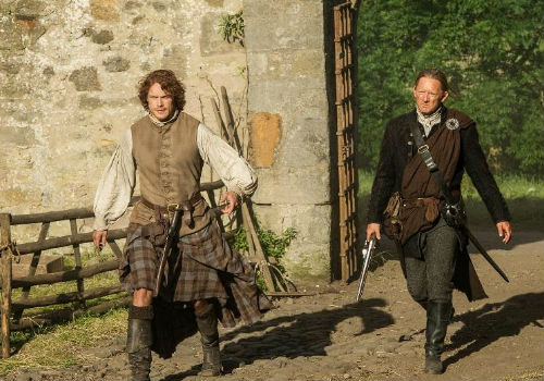 Jamie, as you can imagine, is none too pleased to find his estate in thrall to brigands such as Taran MacQuarrie (image via Spoiler TV (c) Starz)