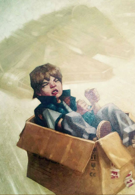 Take one cardboard box, a fecund imagination and a percolating sense of adventure and a dreary afternoon of not much going on became a race through the galaxy thwarting criminals and dictators (image via Nerdist (c) Craig Davison)