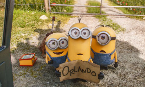 Kevin, Stuart and Bob decide to head to Orlando to find a villain to serve (image (c) Universal)