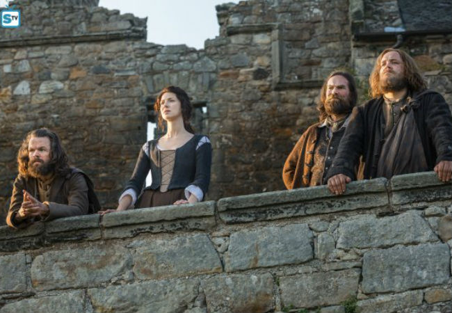 Claire and her allies look as concerned as they should be facing down the might and sadism of Captain Black Jack Randall, a man they will need to defeat to rescue the Sassenach's beloved Jamie (image via Spoiler TV (c) Starz)