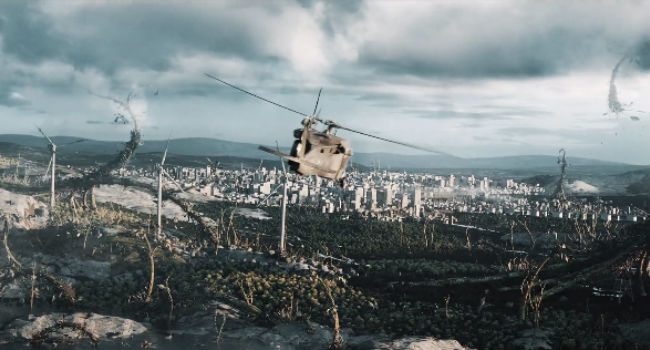 We all know that helicopter is not long for this world in a world gone to zombies and giant killer plants (image via Vimeo (c) Alf Lovvold)