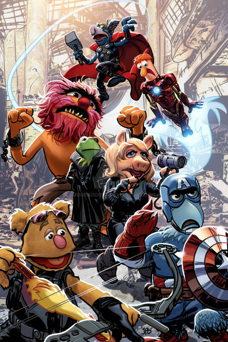 "Loved JoopaDoops' tagline for this piece of artwork - ""Muppvengers? Aveppets? I'll Get Back To You On It"" My money's on the first one! (image via JoopaDoops Deviant Art page (c) Justin Ponsor)"
