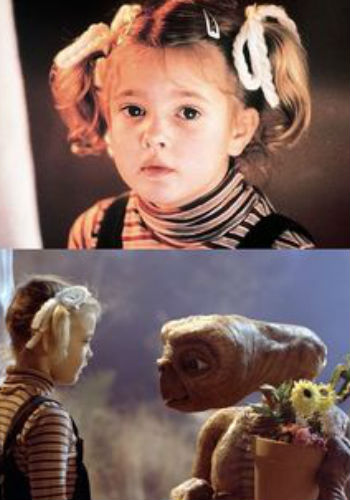 Drew Barrymore in the role as Gertie in E.T. that starts off her movie career, the friendship of Laura and Esther and their religious homage to her (image via and (c) Fame Images)