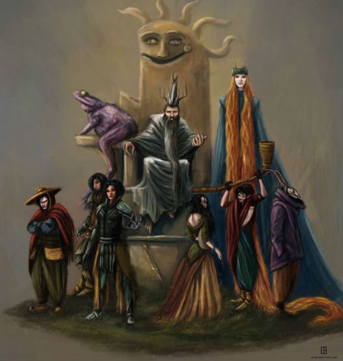 """""""Sketch of the King and his Royal Court, partly inspired by descriptions from The Exploits of Moominpappa: 'Everything became large and tremendous, and strange. There are so many possibilities that one's neck bristles rise when one tries to imagine them all–and in the midst of them I am sitting.'"""" (image via io9 (c) Ingela Hallberg)"""