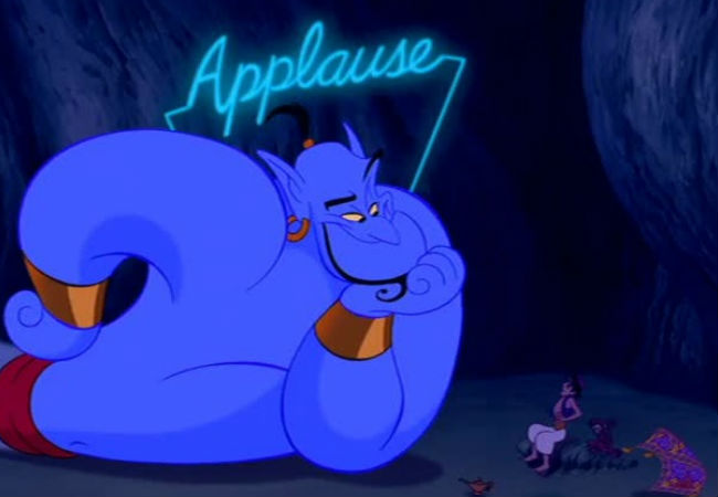 The genie came alive under the supremely talented hand of Robin Williams and continues to enthrall us all (image via A  Cup of Disney (c) Disney)