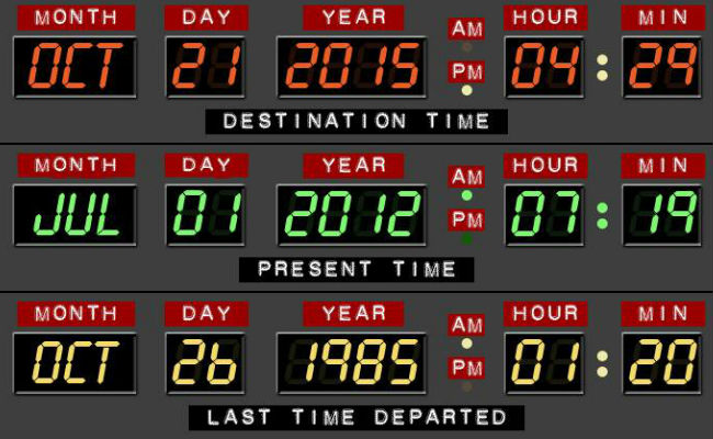 The future is NOW! (Image via official BTTF2015 Facebook page (c) Universal Studios)