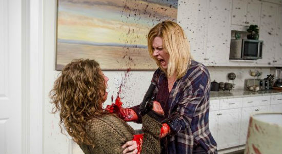 Jessie went all full metal jacket on a Wolf who broke into her home, surprising herself and son Ron with her willingness to do what it took to stay alive ((image via Vavel (c) AMC)