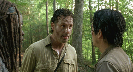 "Rick plays a mean game of ""Lifeboat"" with the Alexandrians instructing Glenn and Michonne to not be sentimental with their new townsfolk, an instruction both quite roundly ignore (image via and (c) AMC)"