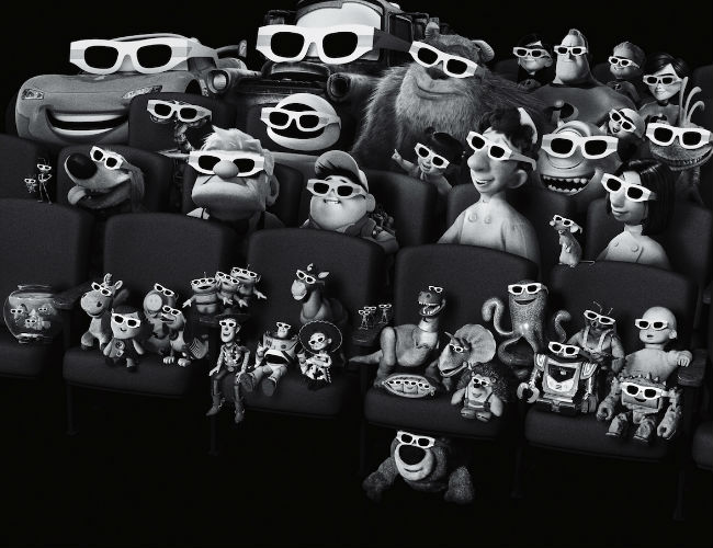 The vast and gloriously wonderful panoply of Pixar stars where they are most at home (image viaPixar Times (c) Pixar/Disney)