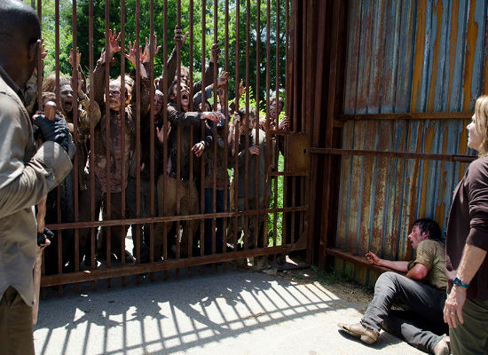 """Why look ma, we got visitors! They're kinda noisy but I bet they're real decent folk once you get down to it"". Spencer most definitely did not say this as half the quarry herd ended up at the literal gates of Alexandra with Rick barely ahead of them (image courtesy AMC)"