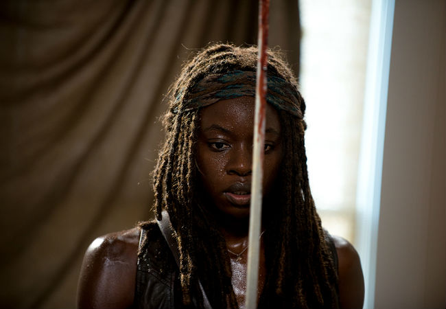Walkers, walkers everywhere, the wall is breached and Alexandria appears lost ... and yet Michonne remains a Believer (though thankfully not a Believer because even in the apocalypse that would be too much to stomach (image courtesy AMC)