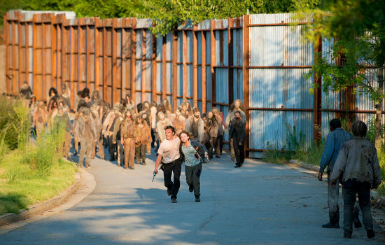While Rick admired Deanna's commitment to physical fitness, he wished, not for the first time, that she wouldn't insist on a brisk run with the nearest walker herd (image courtesy AMC)