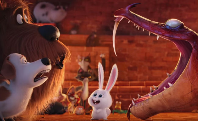 Snowball initiates two more rescued pets into a secret animal society ... but um what does it involve exactly? (image via YouTube (c) Illumination)