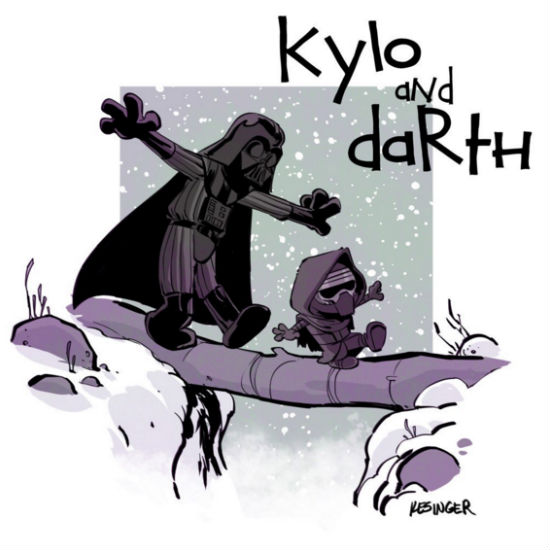 Lil #kyloren explores the forests of starkiller base with his imaginary friend. #calvinandhobbes #starwars #mashup (copy and art (c) brian Kesinger)