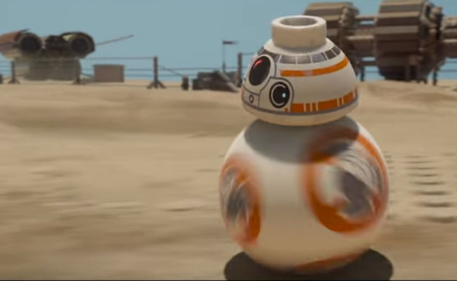 BB8 speeds along until, well, he does not (image via YouTube (c) LEGO/Disney)