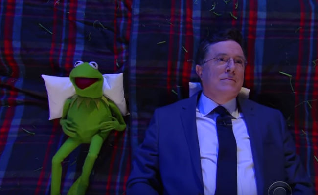 Kermit and Stephen Colbert ponder life, the universe and suitcase wheels (image via YouTube (c) The Late Show with Stephen Colbert)