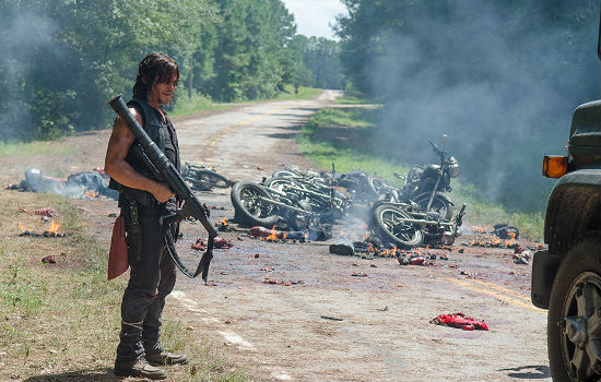 "Daryl ends up deciding that playing Will I kill ya, won't I kill ya?"" with Negan's motorcycle-riding lieutenants is pretty tiresome and blows them all to kingdom come (image courtesy AMC)"