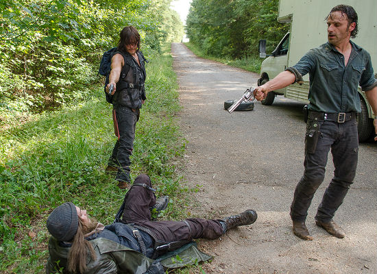 He may be charming, cheeky and handsome but Jesus has established a few trust issues with Rick and Daryl (image courtesy AMC)