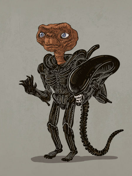 E.T. or alien xenomorph? (image via Geek and Sundry (c) Alex Solis)