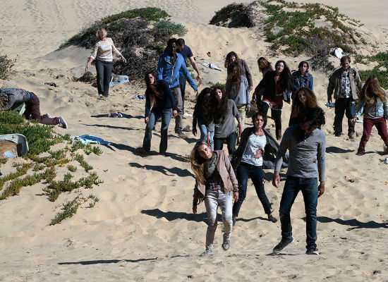 Here come the well-travelled zombies en masse ... (photo by Richard Foreman/courtesy AMC)