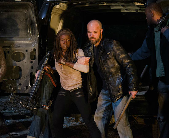 Michonne knew almost immediately that that the dinner and a movie coupon she'd redeemed was too good to be true - and that it'd be more like incarceration and a sociopathic raving instead (image courtesy AMC)