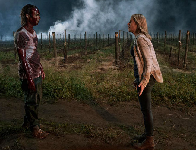"""Hey mom, I just like walking around covered in zombie guts OK? Just leave me alone will ya?"" One of the weirder conversations of the apocalypse was possibly had by Nick and Madison (photo by Richard Foreman/AMC)"