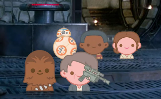 BB-8, Finn, Rey, Chewbacca and Han Solo in their more diminutive but still powerfully emotive emoji forms (image via YouTube (c) Disney)